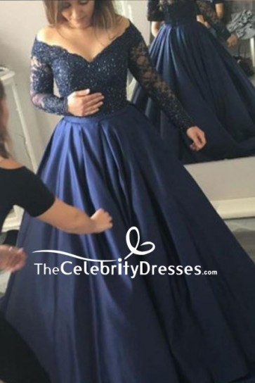 Dark Navy Lace Ball Gown With Long Sleeves