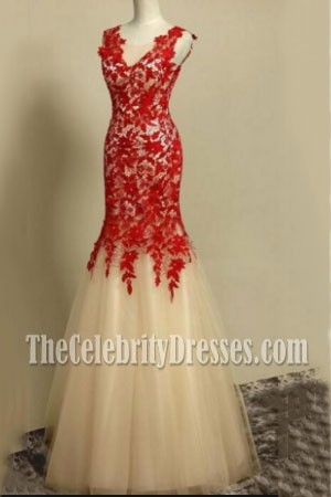Deep V-neck Lace Wedding Dress Tulle Mermaid Prom Gown For Sale