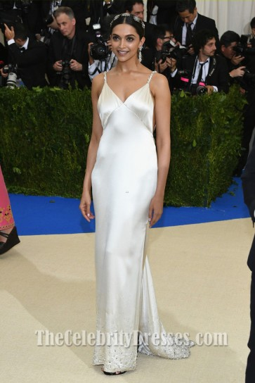 Deepika Padukone Ivory Spaghetti Straps Backless Evening Dress the 2017 Met Gala