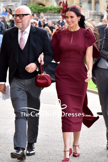 Demi Moore looked so stunning in a burgundy sheath midi dress with cap sleeves at the Princess Eugenie's wedding.
