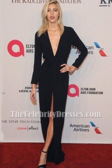 Devon Windsor Black Low Cut Evening Gown Elton John AIDS Foundation gala 3