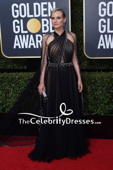 Diane Kruger Black Tulle Halter Beaded Evening Gown 2018 Golden Globe Awards Red Carpet
