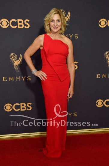 Edie Falco Red One Shoulder Sheath Evening Prom Dress 2017 Emmy Awards Red Carpet