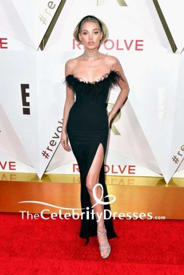 Elsa Hosk Black Strapless Thigh-high Slit Evening Dress #REVOLVEawards Red Carpet