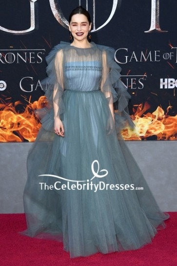 Emilia Clarke Tulle Formal Ball Gown 'Game of Thrones' Season 8 Premiere