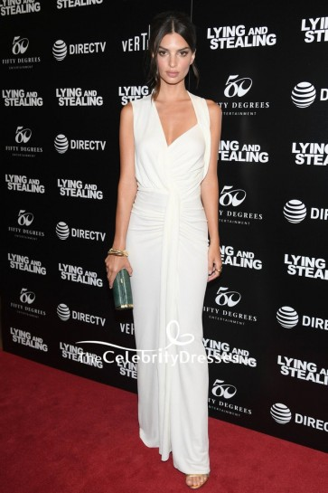 Emily Ratajkowski Ivory Sexy Evening Dress  New York Screening Of 'Lying and Stealing'
