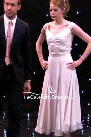 Emma Stone White V-neck A-line Cocktail Dress In Movie LA LA LAND