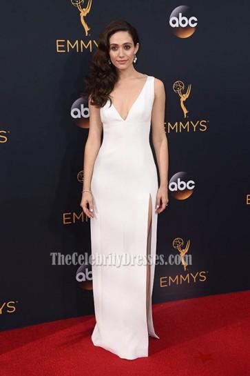 Emmy Rossum White Deep V High Slit Evening Prom Gown 68th Prime time Emmy Awards  1