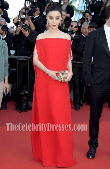 Fan Bingbing Red Off-the-shoulder Evening Prom Gown Cannes Film Festival