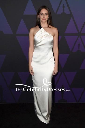 Felicity Jones Silver One-shoulder Satin Evening Dress 2018 Governors Awards