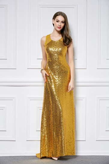 Floor Length Gold Sequined Sleeveless Evening Dress Formal Gown TCDBF447