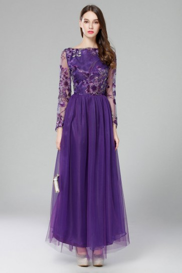 Discount Long Sleeves Lace Evening Gown Formal Dresses