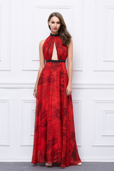 Floor Length Red Cut Out Backless Print Evening Prom Dresses