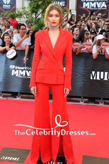 Gigi Hadid Red Trouser Suit 2016 iHeartRadio Much Music Video Awards Red Carpet