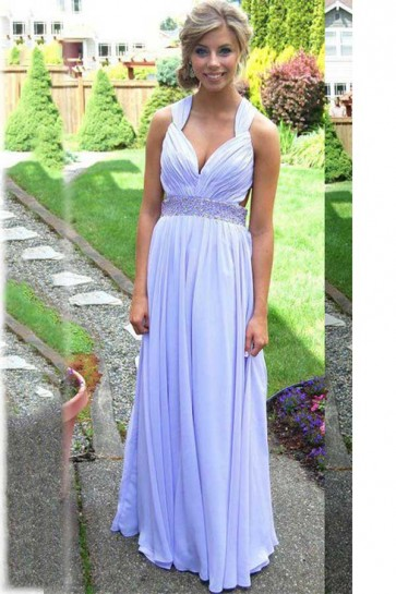 Gorgeous Cross back Floor Length Lavender Backless Evening Dress Prom Gown