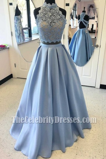 Gorgeous Two Piece High Neck Light Blue Embroidered Evening Dress Prom Ball Gown
