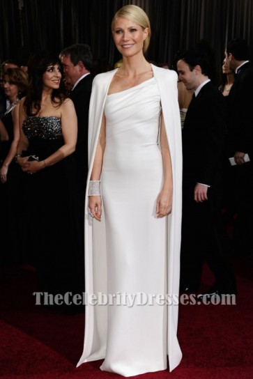 Gwyneth Paltrow White Caped Shorty Sleeves Sheath Evening Dress Oscars 2012