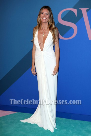 Heidi Klum Ivory Dress Deep V-neck Ruffle Backless Evening Gown 2017 CFDA Fashion Awards