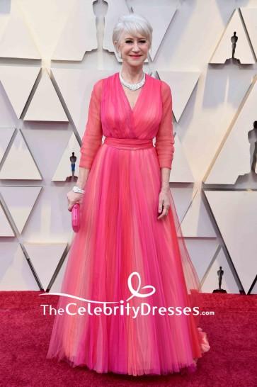 Helen Mirren A-line Ruffled Long Sleeves V-neck Evening Dress Oscar 2019