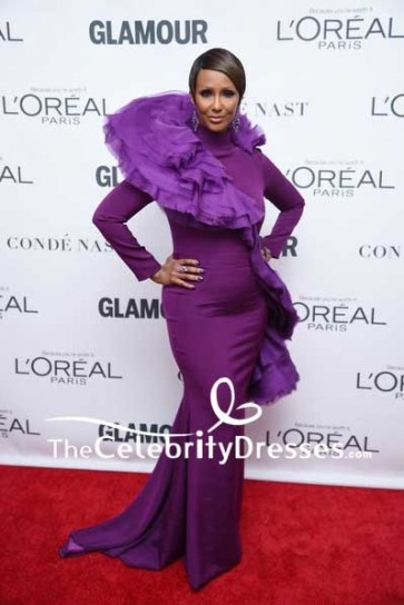 Iman Purple Mermaid Evening Prom Dress With Long Sleeves 2017 Glamour Women of the Year Awards Red Carpet