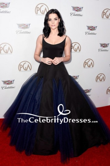 Jaimie Alexander Black And Navy  Two-tone Ball Gown 2018 Producers Guild Awards Red Carpet  Dress