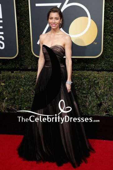 Jessica Biel Black Strapless Sweetheart Evening Gown 2018 Golden Globe Awards Red Carpet
