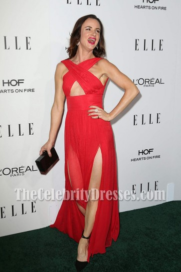 Juliette Lewis Red Chiffon High Slit Evening Dress 23rd Annual Elle Women