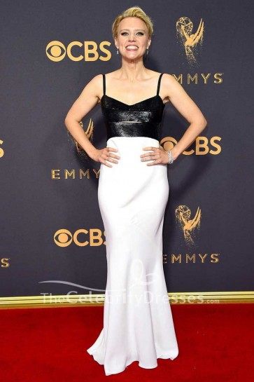Kate McKinnon White And Black Cut Out Spaghetti Straps Evening Dress 2017 Emmy Awards Red Carpet