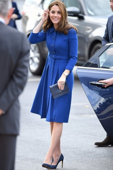 Kate Middleton 2019 Royal Blue Casual Short Dress With Sleeves