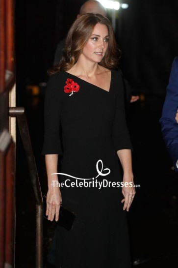 Kate Middleton Black Cocktail Dress With Sleeves Royal Festival of Remembrance