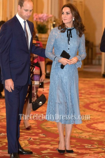 Kate Middleton Light Blue Lace Short Dress With Long Sleeves