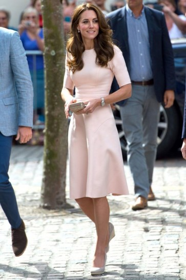 Kate Middleton Pink Short Sleeves Fit And Flare Party Dress Visiting Cornwall and the Scilly Isles