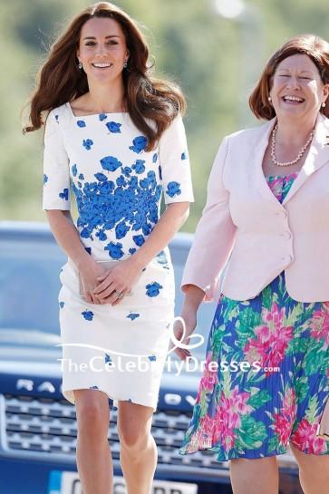 Kate Middleton White And Blue Short Print Summer Dress