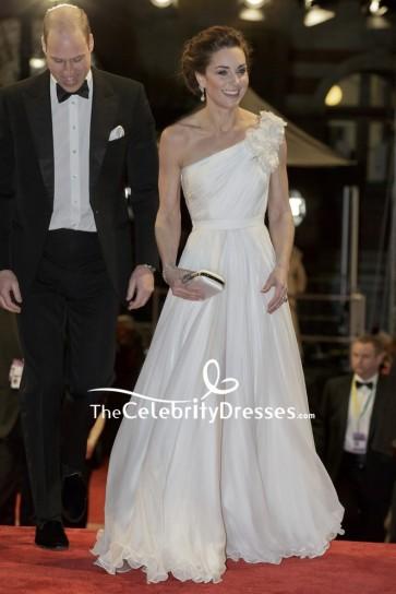 Kate Middleton White One-shoulder Evening Dress 2019 BAFTA Awards Red Carpet