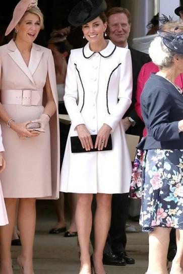 Kate Middleton White Coat Cocktail Dress Order Of the Garter Service