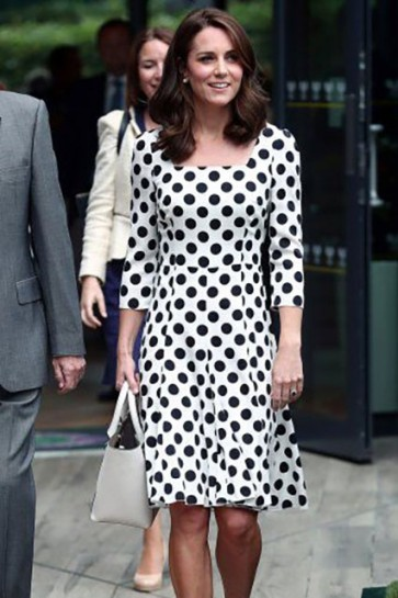 Kate Middleton Black Dot Print Summer Casual Dress With Sleeves