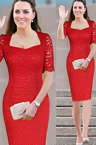 ケイトミドルトンスタイルの衣装半袖赤いレースの膝丈ドレス