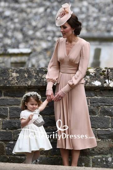 Kate Middleton V-neck A-line Long Sleeves Prom Dress Pippa Middleton's Wedding