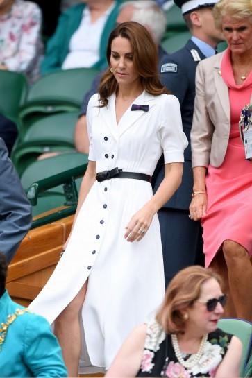 Kate Middleton White Shirtdress With Short Sleeves  Wimbledon 2019