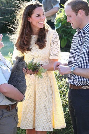 Kate Middleton Inspired Yellow Lace Cocktail Dress With Sleeves