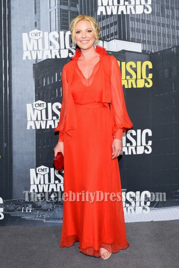 Katherine Heigl Red Chiffon Evening Dress With Sleeves 2017 CMT Music Awards
