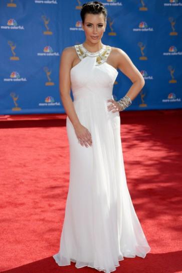 Kim Kardashian White Red Carpet Dress Evening Dresses 2010 Emmy Awards