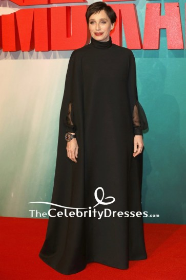 Kristin Scott Thomas Black Caped Sleeves Long Evening Formal Dress European Premiere Of Tomb Raider