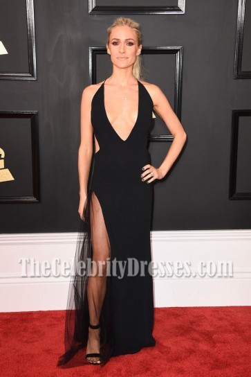Kristin Cavallari Black Deep V-neck High Slit Evening Dress 2017 Grammy Awards