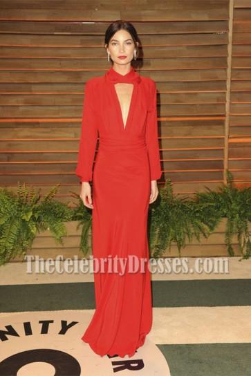 Lily Aldridge Red Deep V Halter Long Sleeves Backless Evening Dress Vanity Fair Oscar Party 2014