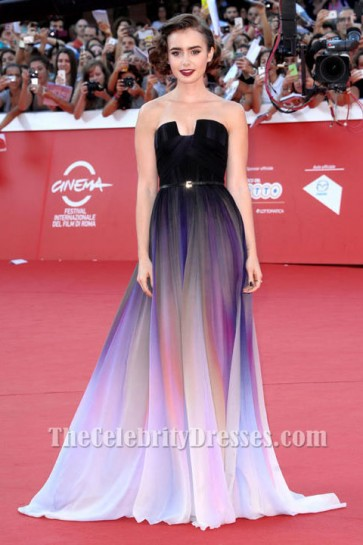 Lily Collins Strapless Formal Dress Rome Film Festival premiere for Love, Rosie