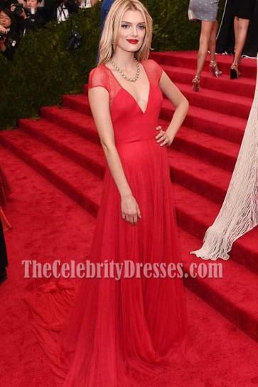 Lily Donaldson Met Gala 2015 Red Deep V-neckline Chiffon Evening Formal Dress  5