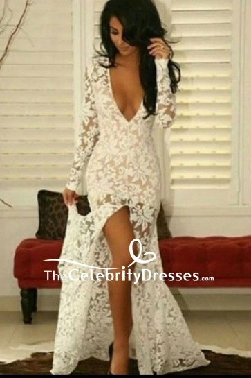 White Long Sleeve Lace Plunging Evening Wedding Dress