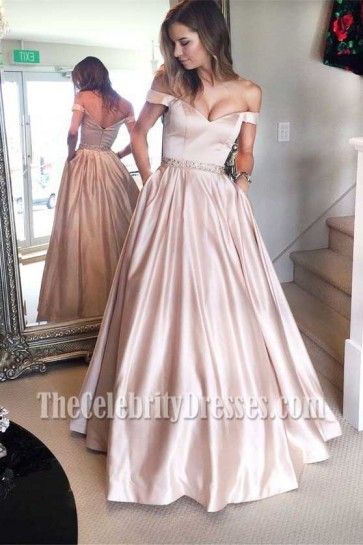 Long Champagne A-Line Off-the-Shoulder Formal Dress Evening Gown