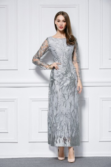 Long Sleeve Gray Embroidered Formal Dress Evening Prom Gown